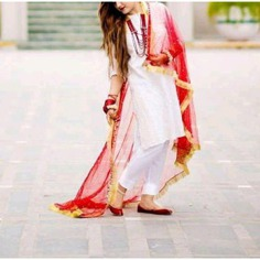 White and red color cotton pant suit
