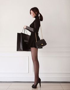On Display #shopping #bag #woman #black