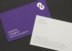 Conor Byrne - Caroline Callaghan Commications Identity #white #silver #print #design #byrne #identity #purple #logo #conor