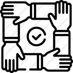 See more icon inspiration related to teamwork, shapes and symbols, hands and gestures, collaboration, unity, arms, checked, hands and check on Flaticon.