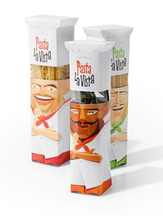 Pasta as hair in a character-shaped box. Wow. #packaging #pasta #box #hair #chef