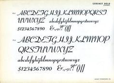Specimen of the Coronet font designed by R. Hunter Middleton for Ludlow #type #specimen #font #typography