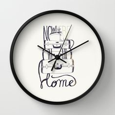 Nowhere Home Wall Clock #travel #home #wall #clock #decoration