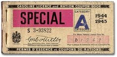 Gasoline Licence and Ration Coupon Book, Category A, 1944-1945 #1940s #ration #coupon