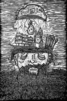 Heroin Woodcut Print #woodcut #sailor #print #beard #illustration #ship #sea #boat #art #woodcarving #anchor #nautical