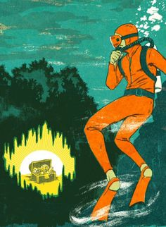 Patrick Leger #water #diver #cave #illustration #sea #under