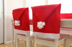 Santa Hat Chair Covers #christmas #diy #holiday