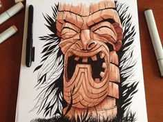Tiki by Dave Mottram #illustration #drawing