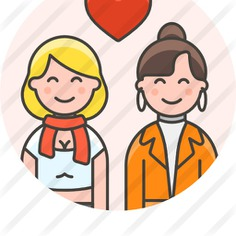 See more icon inspiration related to love and romance, lesbian, familiar, girlfriends, homosexual, couple, family, women and people on Flaticon.