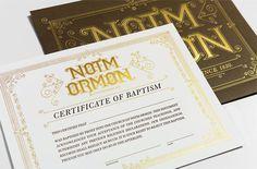 Notm Ormon Certificate and Envelope #certificate #foil stamp #gold #baptism