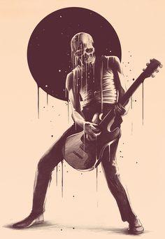 Face melting byKyle Cobban #guitar #skull #rocknroll #illustration