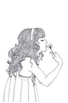 dandelion, drawing, girl, hair, illustration, pretty - inspiring picture on Favim.com #illustration #black and white