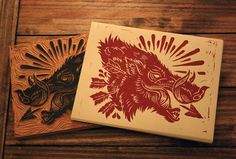 hog5 #illustration #block print #wood cut #boar