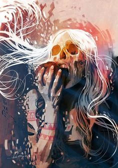 An Explosive Rainbow of Bright Skulls #illustration #rainbow #skulls #trippy