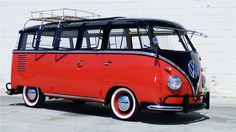vw, bus, red, black,