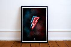 #davidbowie #poster #graphicdesign #romainalbertini #illustration #lightning #music #star #print #red #blue #smoke