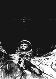tumblr_m2c5h2TMPF1r4w8k5o1_1280.jpg 1280×1813 pixels #blackwhite #astronaut #mobius #space #glenn #illustration #john