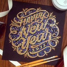 Happy New Year by darkgravity. #happy new year #typography #hand lettering