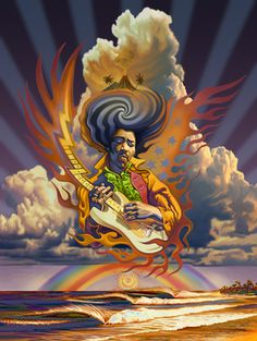 Electric Sky - Jimi Hendrix painting by Rick Rietveld