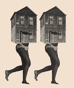 Femme-Maison by Pedro Pinotti https://www.behance.net/wip/705705 #maison #louise #house #woman #france #wip #french #femme #collage