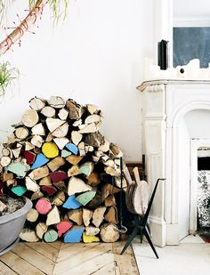 colored logs #interior #design #decor #colors #deco #decoration