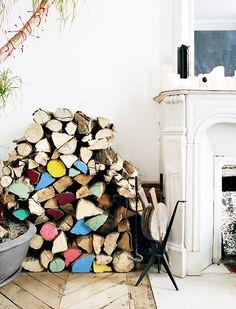 colored logs #interior #design #decor #colors #deco #decoration