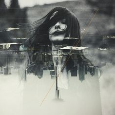 Depths Art Print #portrait #geometry #double #exposure