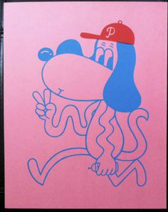 ISAAC-T-LIN-DFW-PINK-PHILLY-DOG-Rare-Original-Silkcreen-Print-barry-mcgee-kaws #art