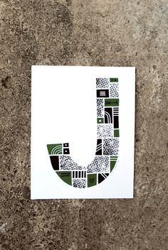The Letter J #green #print #screenprint #screen #letter #alphabet #jay #type #typography
