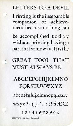 Linotype Garamond type specimen