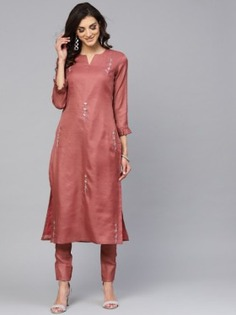 Pink Thread Embroidered Palazzo Suit - Inddus.