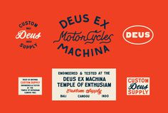Typography, type, color, motorcycles, deus ex machina