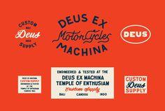 Typography, type, color, motorcycles, deus ex machina