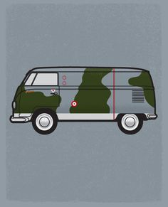 personal, illustration, vw, van fighter, camouflage