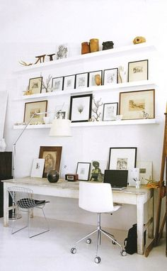 office shelving #pictures #white #space #work