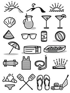 Icon set by Tim Praetzel #icons #picto #illustration #vector #summer