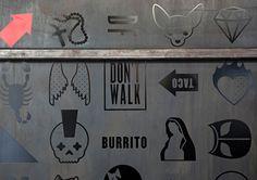 DF Mexico   BuroCreative #signage #mexico #mexican #restaurant #branding #identity #food #black on black #icons #iconography