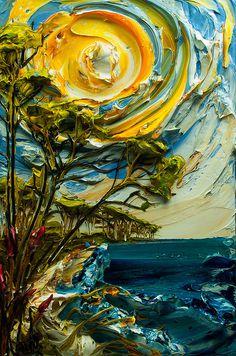 Bon Vivant #art #paint #texture #landscape #sea #sun