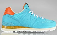"Begins x New Balance 574 ""Gone Fishing"" — NiceKicks.com #orange #shoe #balance #summer #fashion #low #teal #new"