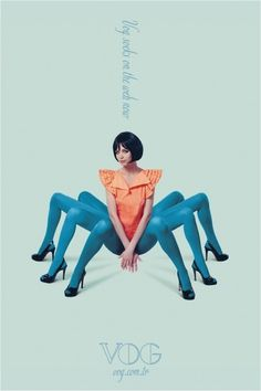 Печатная реклама #woman #design #graphic #spider #legs #fashion #colour
