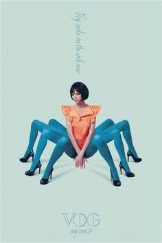 Печатная реклама #woman #design #graphic #spider #legs #fashion #colour