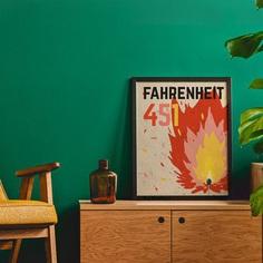 Fahrenheit 451 poster book cover Ray Bradbury Dystopian | Etsy