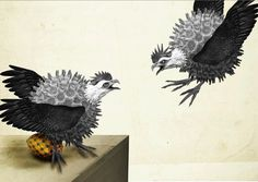 scrapbook creations on Behance #egg #flight #micro #virus #birds #wings