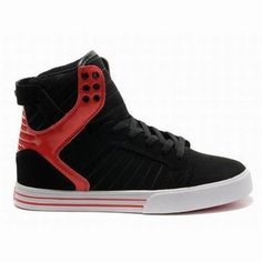 Supra Skate Shoes-Skytop High Tops Black Red White Leather