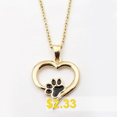 Puppy #Kitty #Paw #Heart #Pendant #Necklace #- #GOLDEN