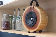 Wooden Speakers 'Rockit Log' Created From Reclaimed Wood > FREEYORK