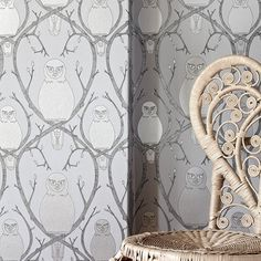 Abigail Edwards — Briar Owl wallpaper - Silver #owl #edwards #silver #design #abigail #wallpaper