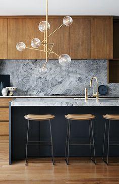 Grey Marble Backsplash, Natural Wood Cabinets, Modern Kitchen