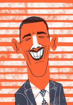 Obama - Lydia Nichols #illustration #naive #retro #obama #character