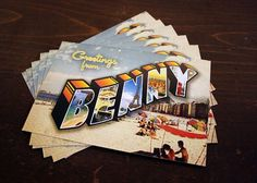 Benny Postcards - Benny Moore #customtype #bennymooredesign #benny #identity #vintage #custom #postcards #typography